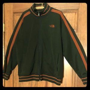 Men's green and orange north face jacket